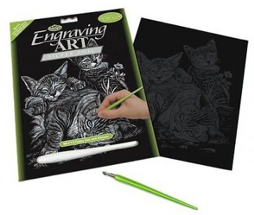 ENGRAVING ART SET - TABBY CAT & KITTENS (SILVER FOIL) by ROYAL & LANGNICKEL